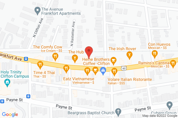 Mapped location of Bourbons Bistro