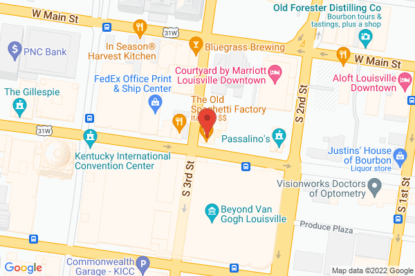 Mapped location of Old Spaghetti Factory