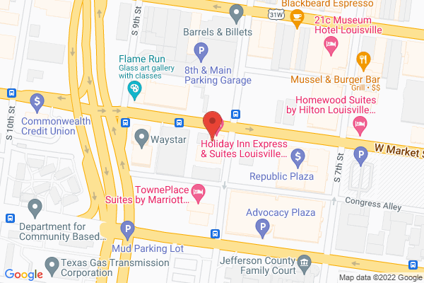 Mapped location of Holiday Inn Express & Suites Louisville Downtown