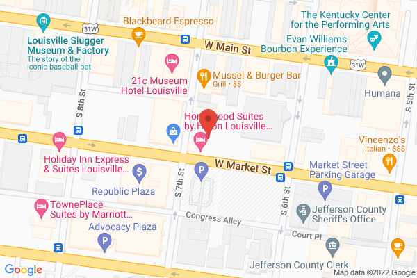 Mapped location of Homewood Suites by Hilton Louisville Downtown