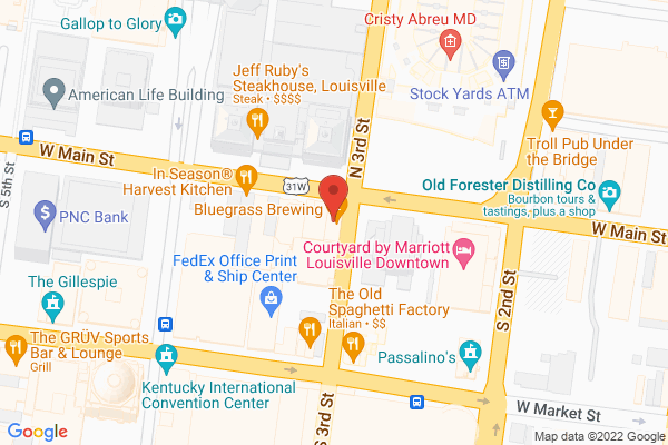 Mapped location of Bluegrass Brewing Co. Main St.