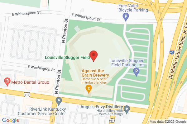 Mapped location of Louisville Slugger Field