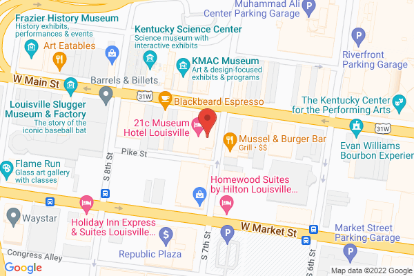 Mapped location of 21c Louisville Museum