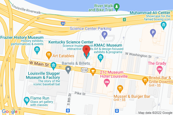 Mapped location of Kentucky Science Center