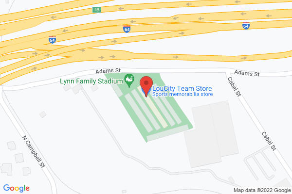 Mapped location of Racing Louisville FC Home Game