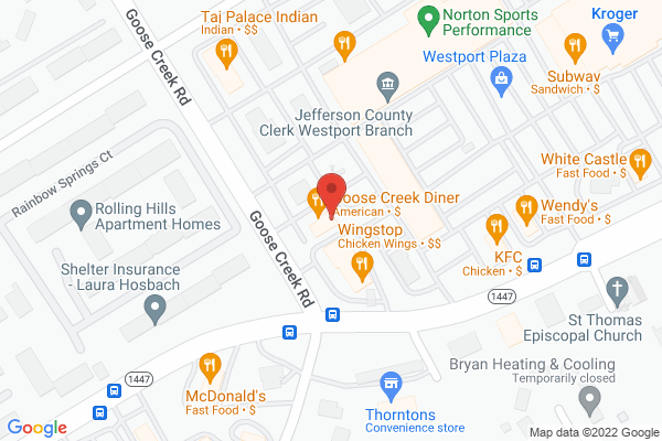 Mapped location of Goose Creek Diner