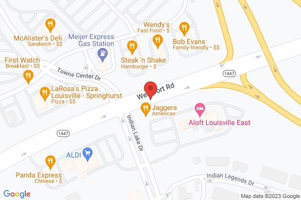 Mapped location of Aloft Louisville East