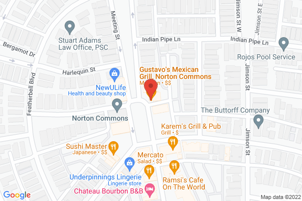 Mapped location of Gustavo's at Norton Commons