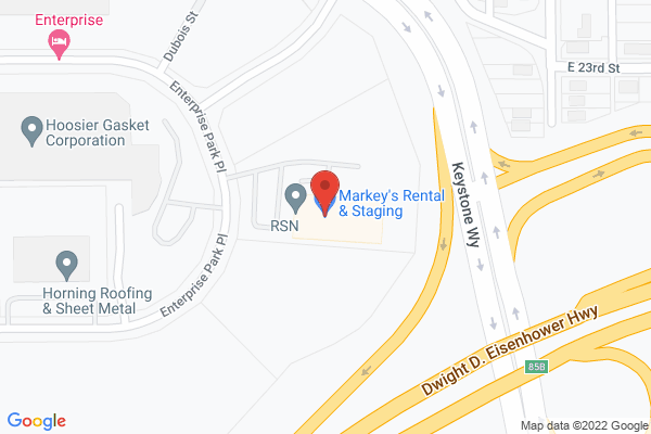 Mapped location of Markey's Rental & Staging