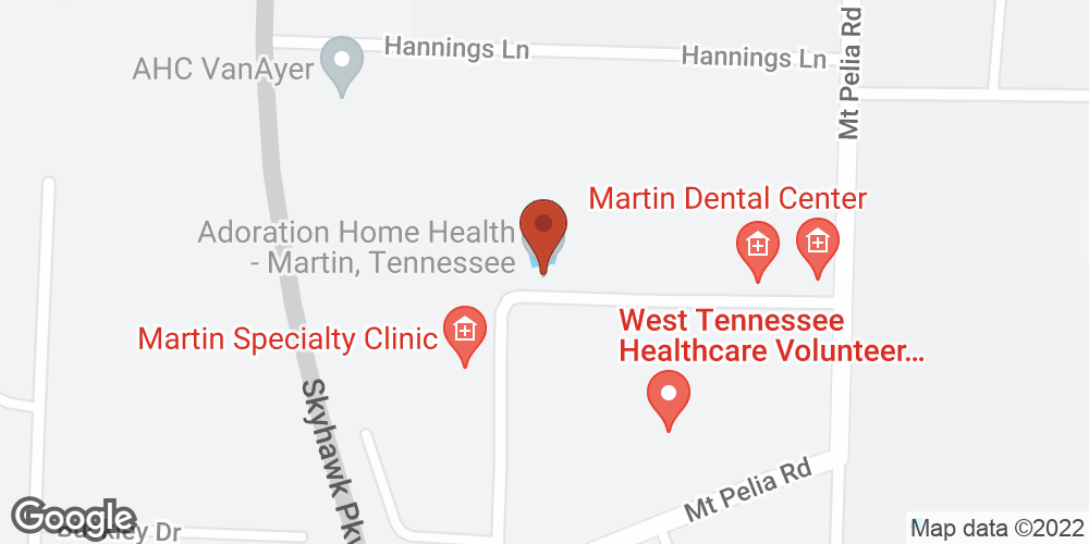 Google Map of Adoration Home Health – Martin, Tennessee