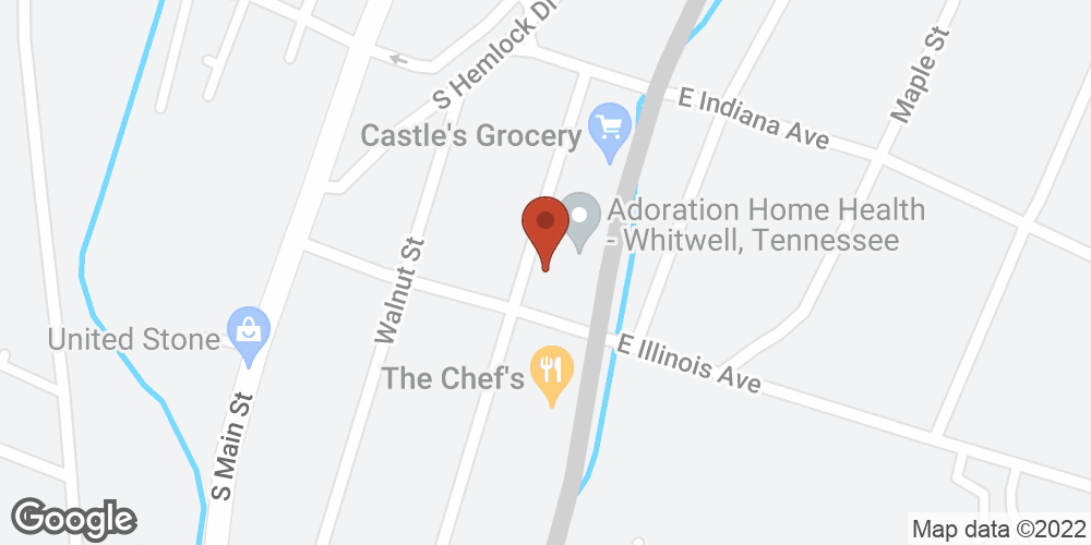 Google Map of Adoration Hospice – Whitwell, Tennessee