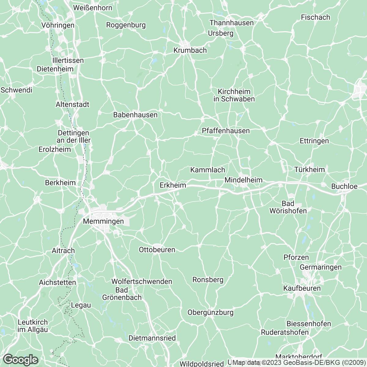 Verkaufsgebiet der Zeitungen Augsburger Allgemeine