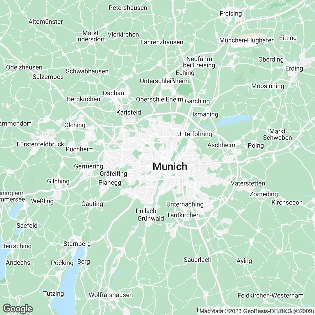 Verkaufsgebiet der Zeitungen Mediengruppe Münchner Merkur tz