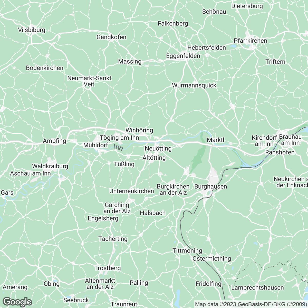 Verkaufsgebiet der Zeitungen Passauer Neue Presse