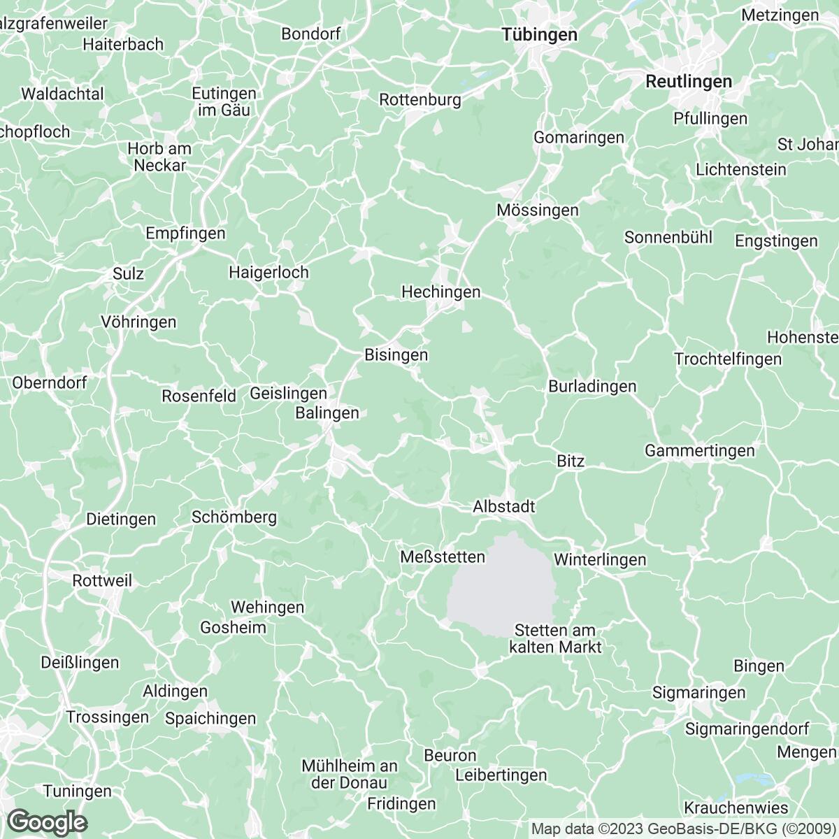Verkaufsgebiet der Zeitungen Zollern-Alb-Kurier