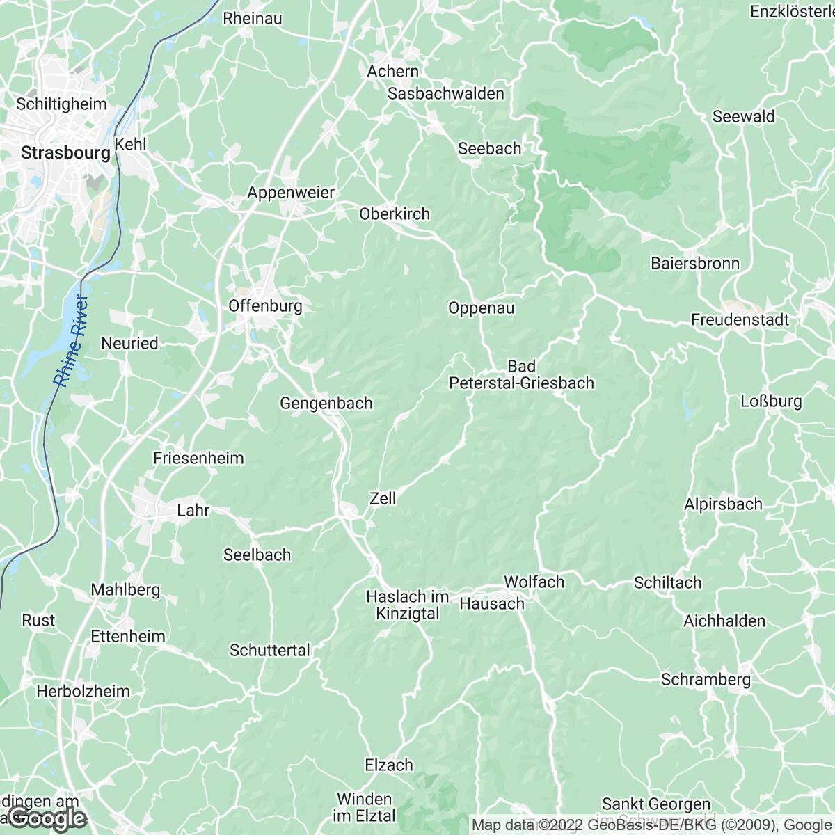 Verkaufsgebiet der Zeitungen Mittelbadische Presse/Zeitungen der Ortenau