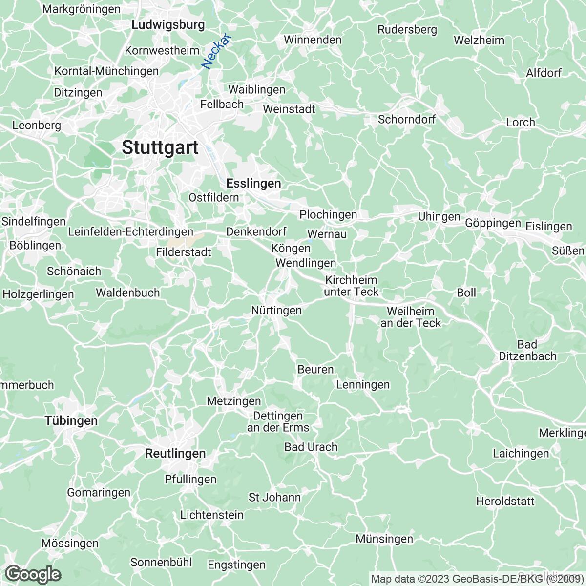 Verkaufsgebiet der Zeitungen Nürtinger Zeitung/Wendlinger Zeitung