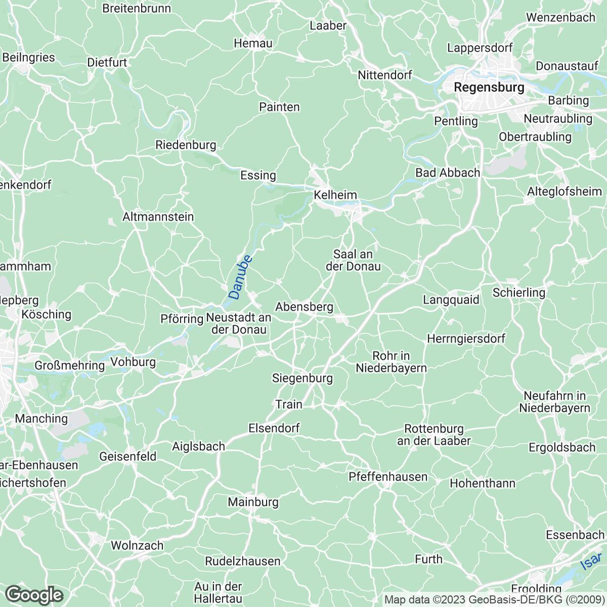 Verkaufsgebiet der Zeitungen Mittelbayerische Zeitung