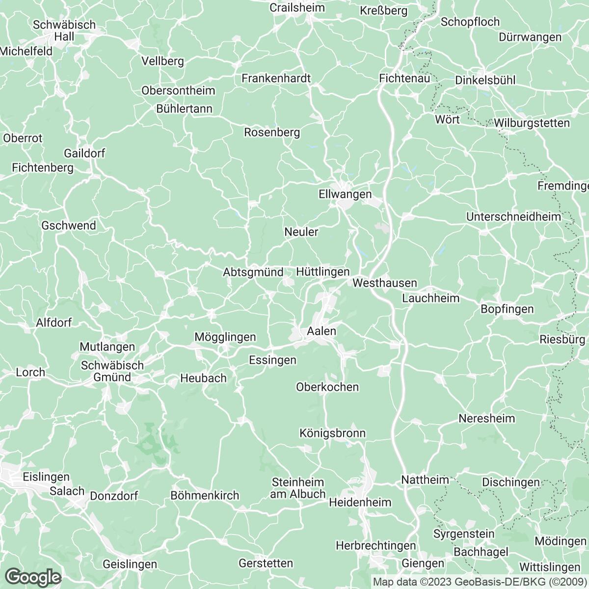 Verkaufsgebiet der Zeitungen Schwäbische Post/Gmünder Tagespost