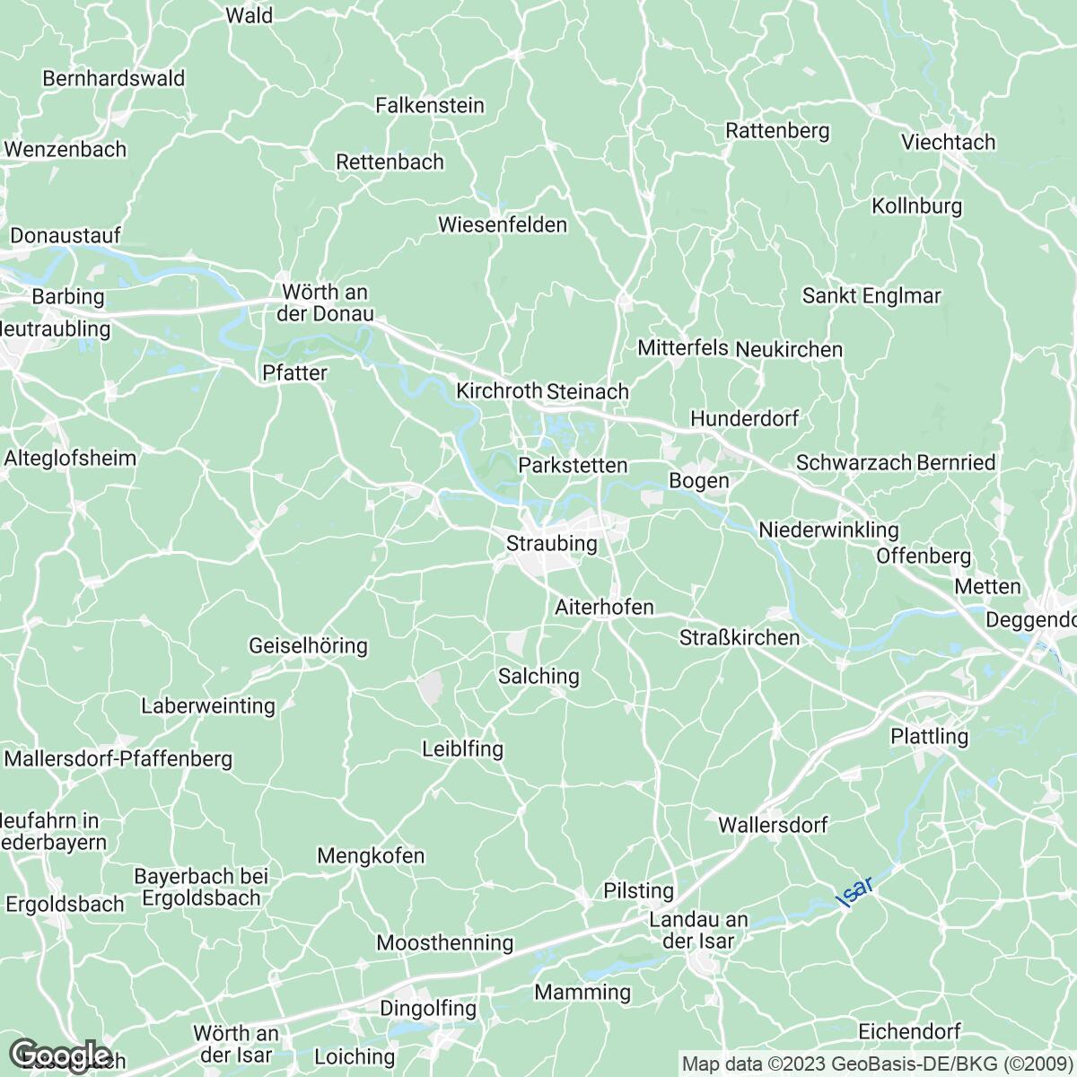 Verkaufsgebiet der Zeitungen Straubinger Tagblatt/Landshuter Zeitung
