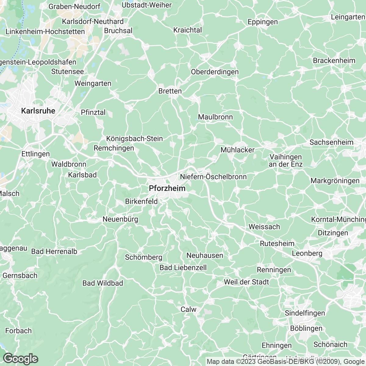Verkaufsgebiet der Zeitungen Pforzheimer Zeitung