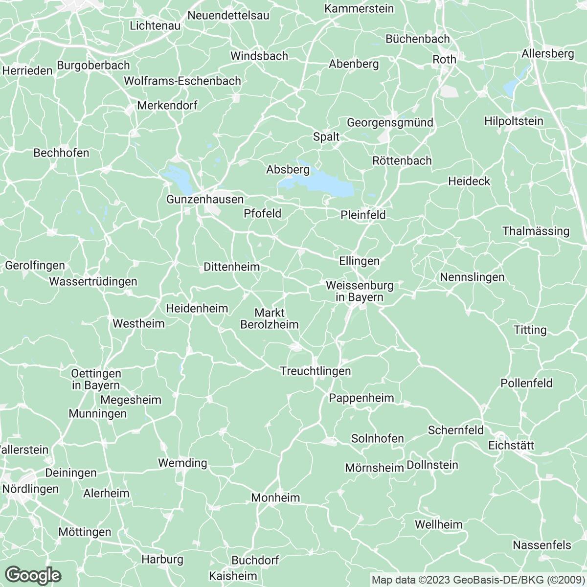 Verkaufsgebiet der Zeitungen Altmühl-Bote