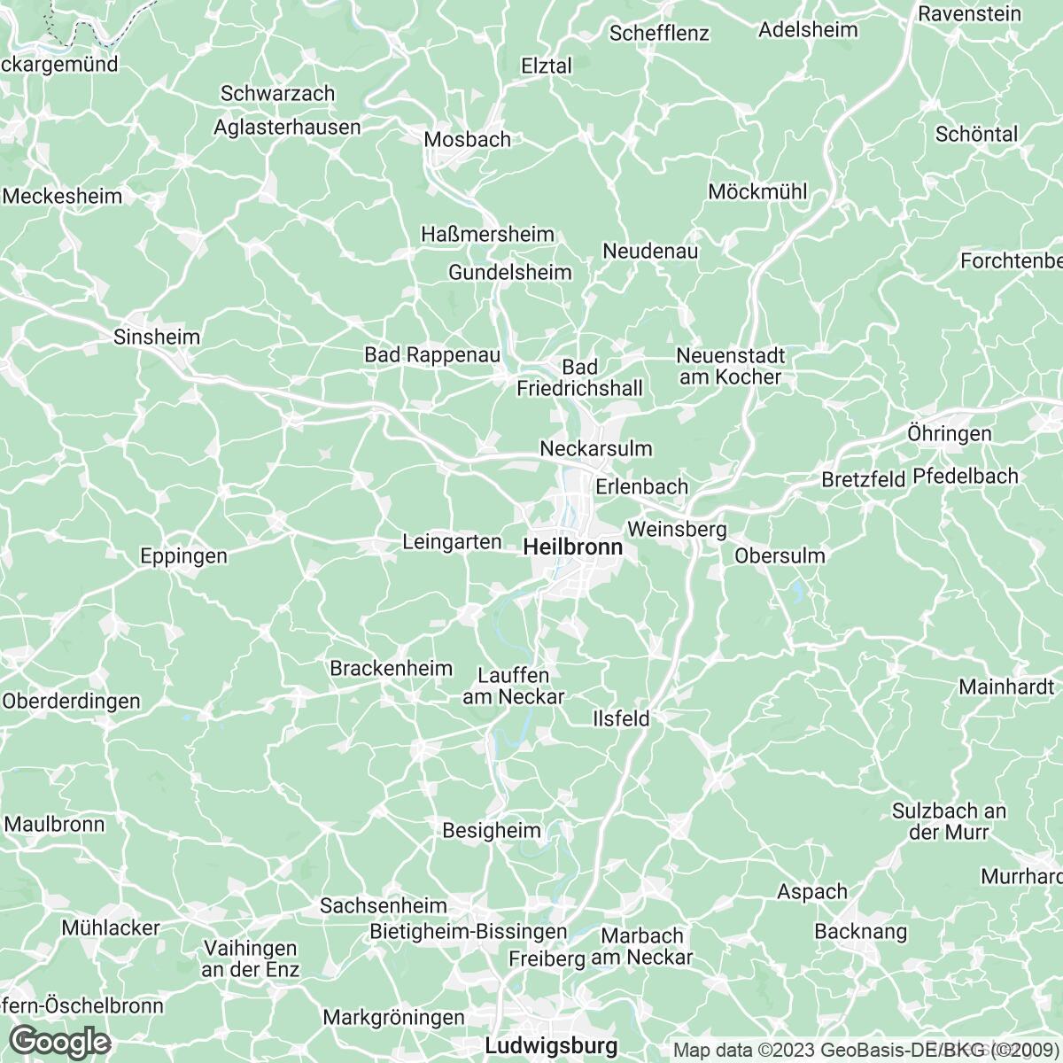 Verkaufsgebiet der Zeitungen Heilbronner Stimme