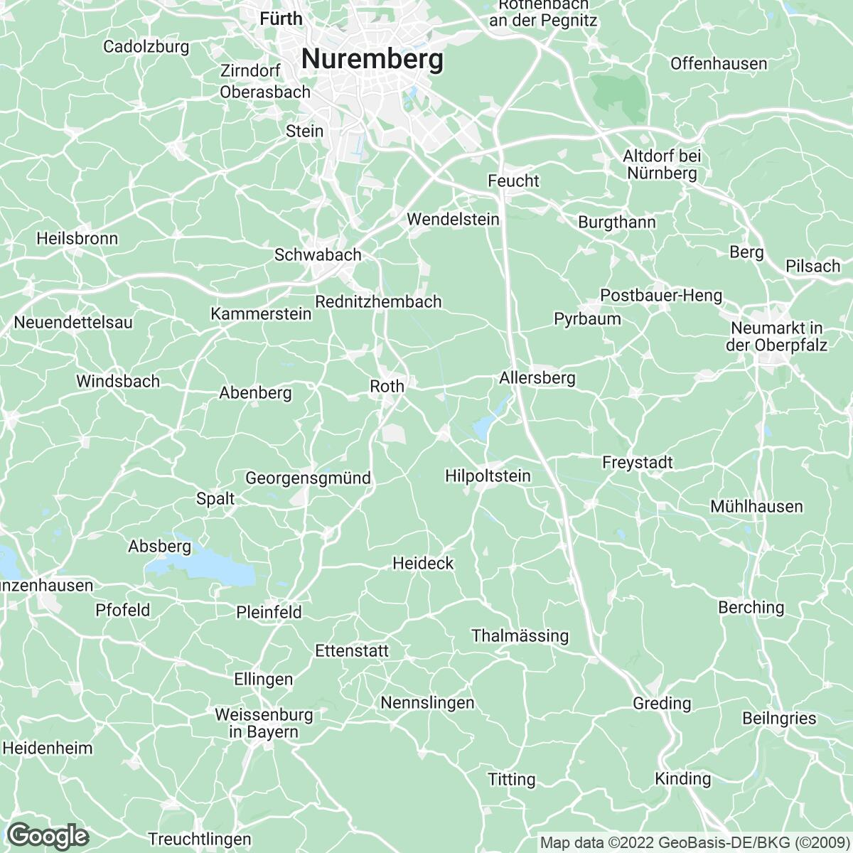 Verkaufsgebiet der Zeitungen Roth-Hilpoltsteiner VZ