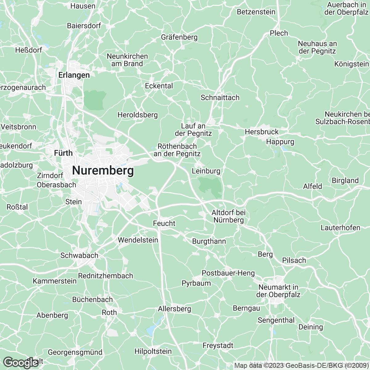 Verkaufsgebiet der Zeitungen Hersbrucker Zeitung