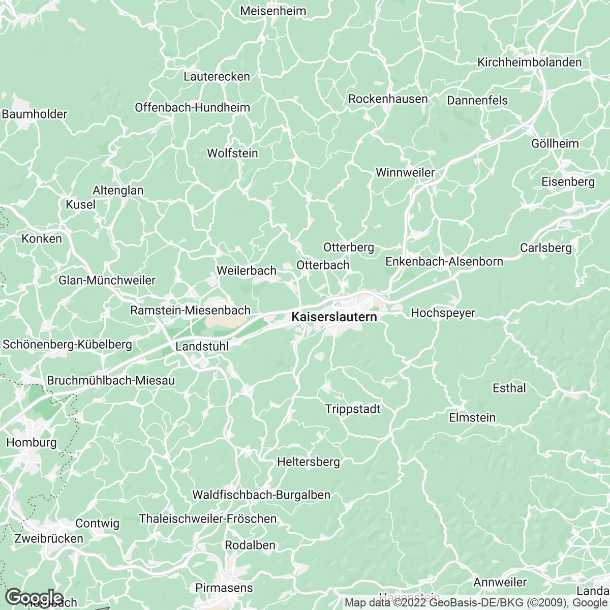 Verkaufsgebiet der Zeitungen Die Rheinpfalz
