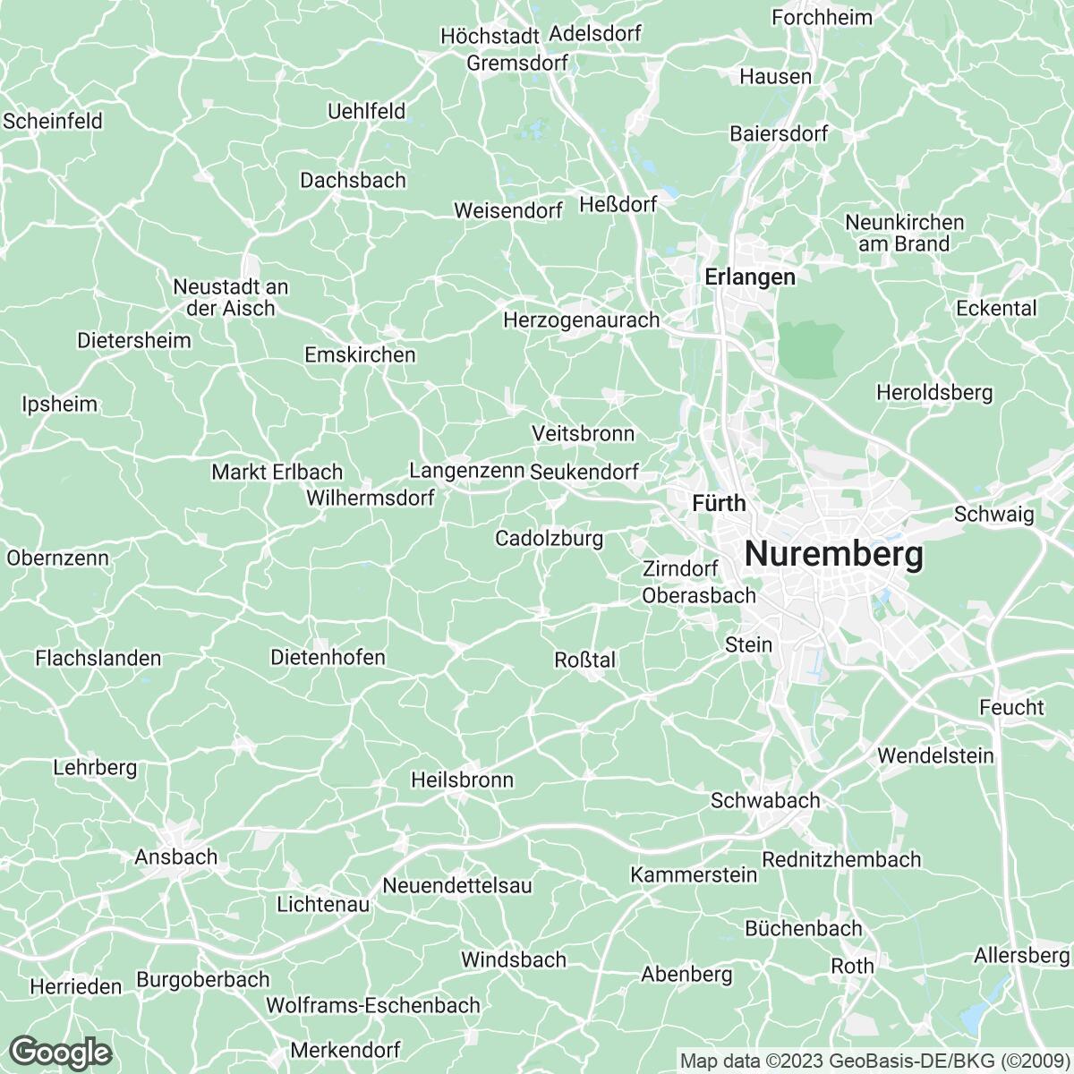 Verkaufsgebiet der Zeitungen Nürnberger Nachrichten / Nürnberger Zeitung