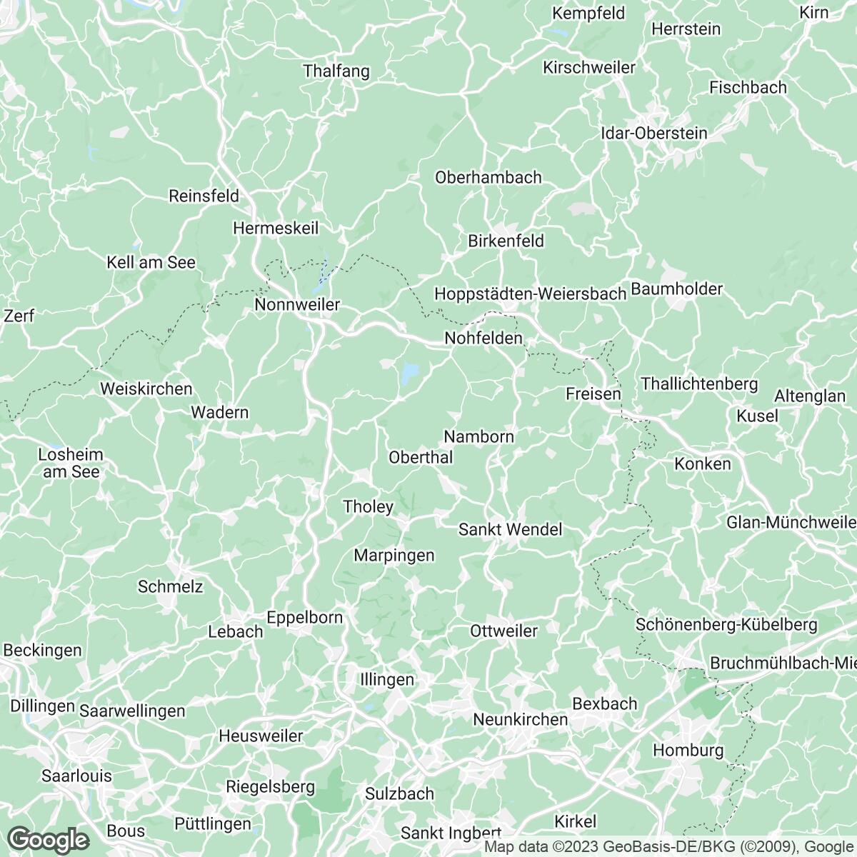 Verkaufsgebiet der Zeitungen Saarbrücker Zeitung