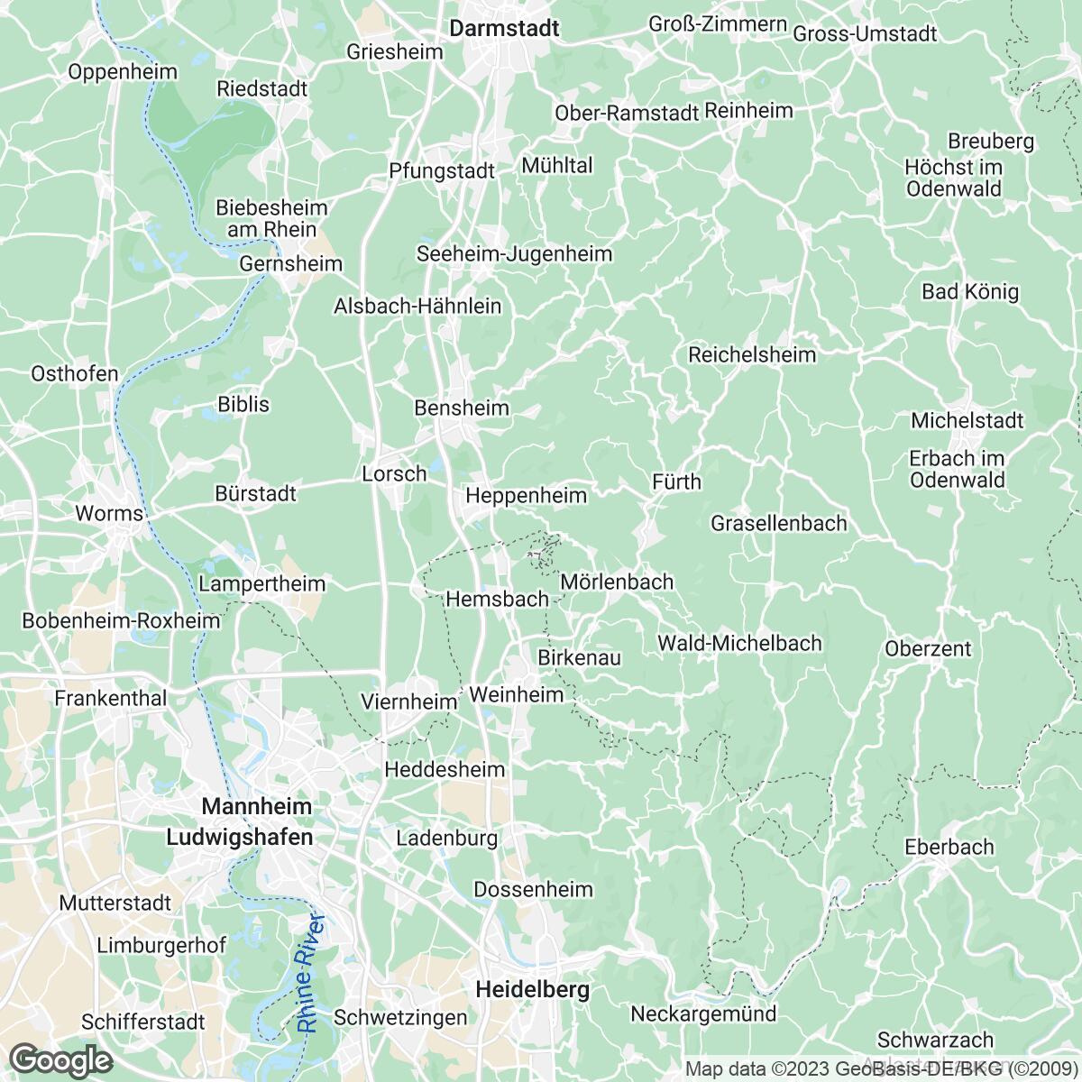 Verkaufsgebiet der Zeitungen Rhein-Neckar-Zeitung