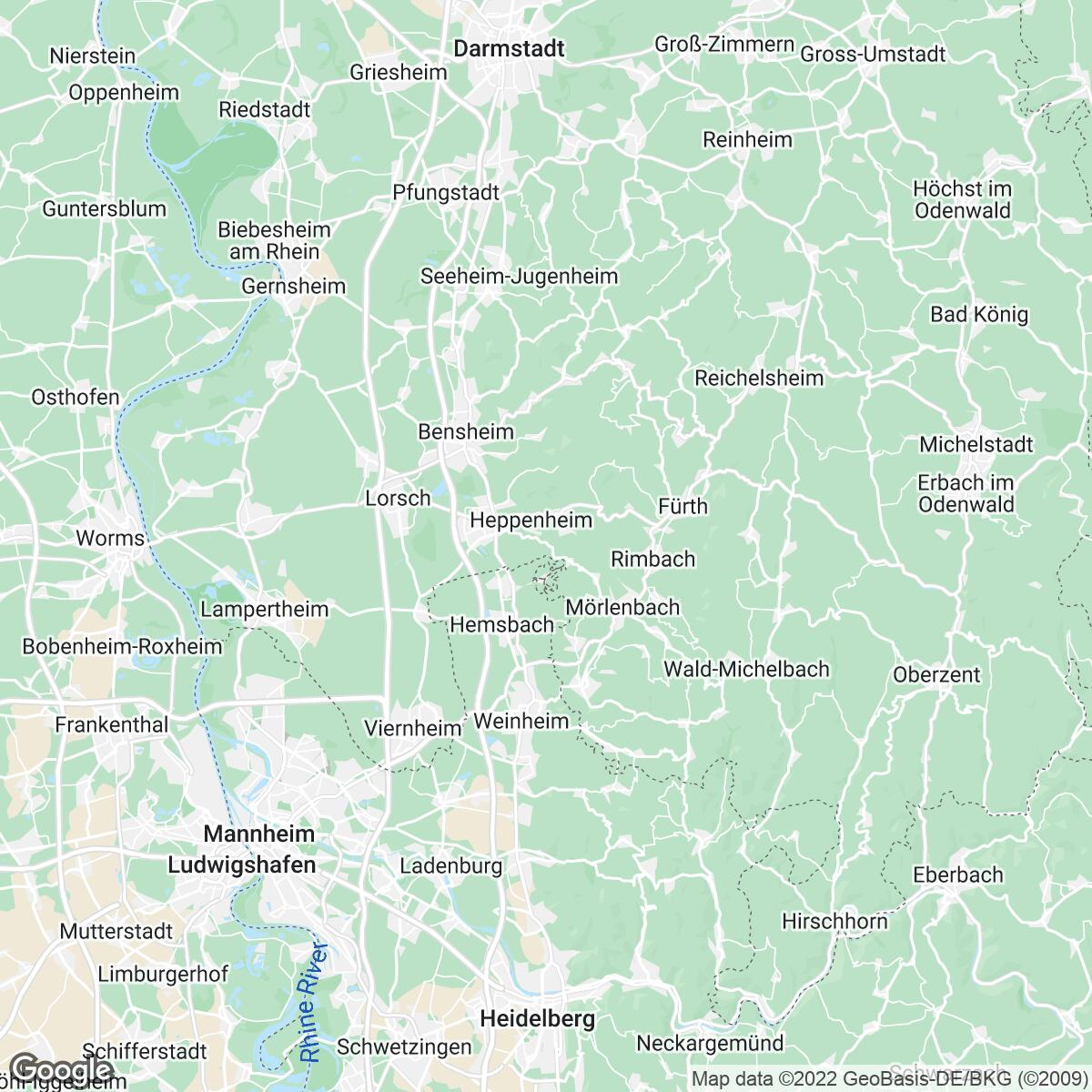 Verkaufsgebiet der Zeitungen VRM Tageszeitungen Rhein-Main