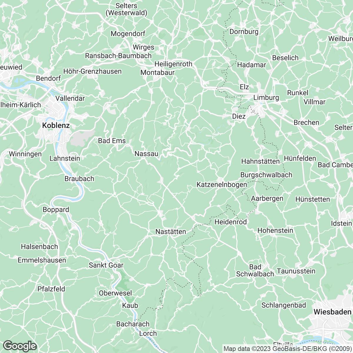 Verkaufsgebiet der Zeitungen Rhein-Zeitung