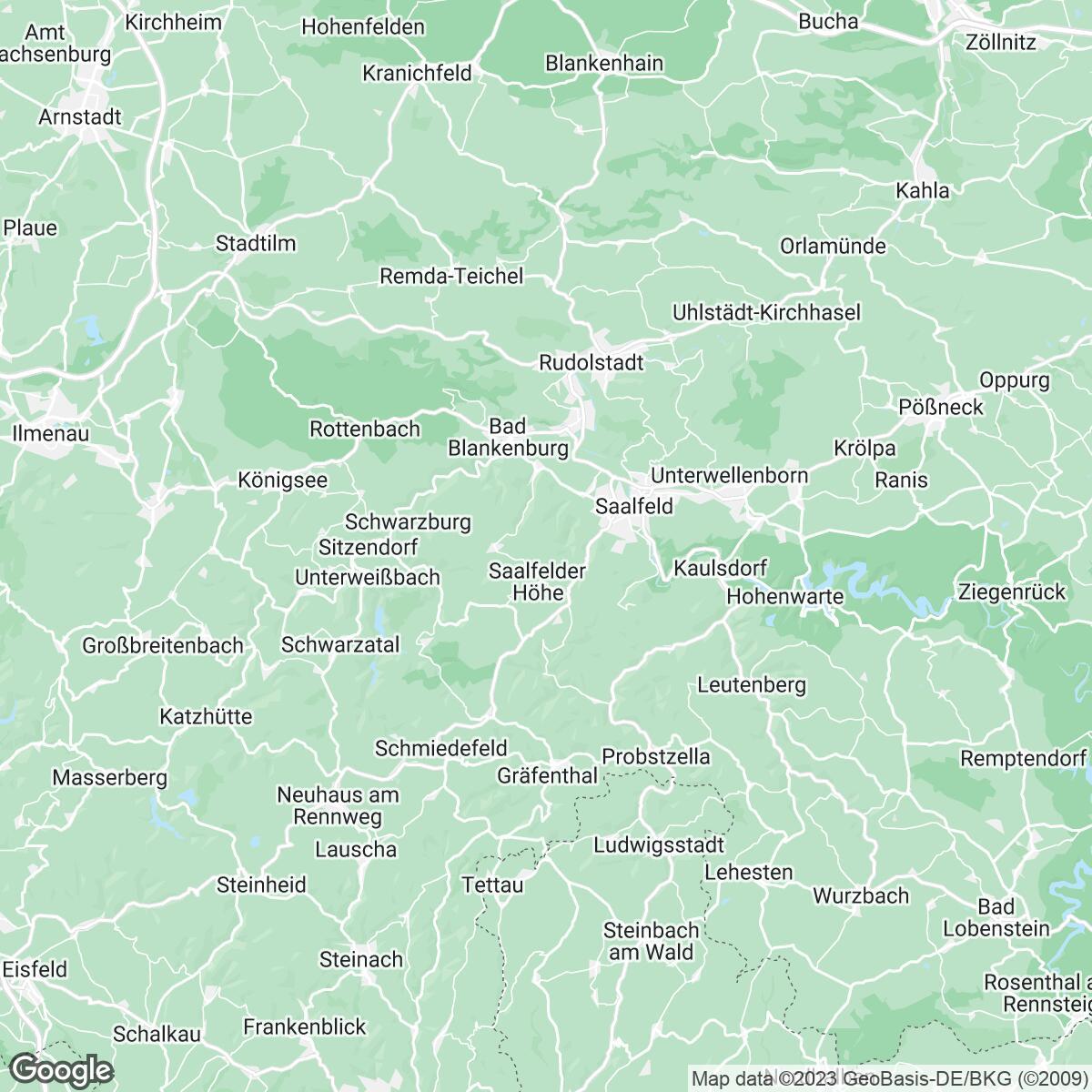Verkaufsgebiet der Zeitungen Mediengruppe Thüringen Media