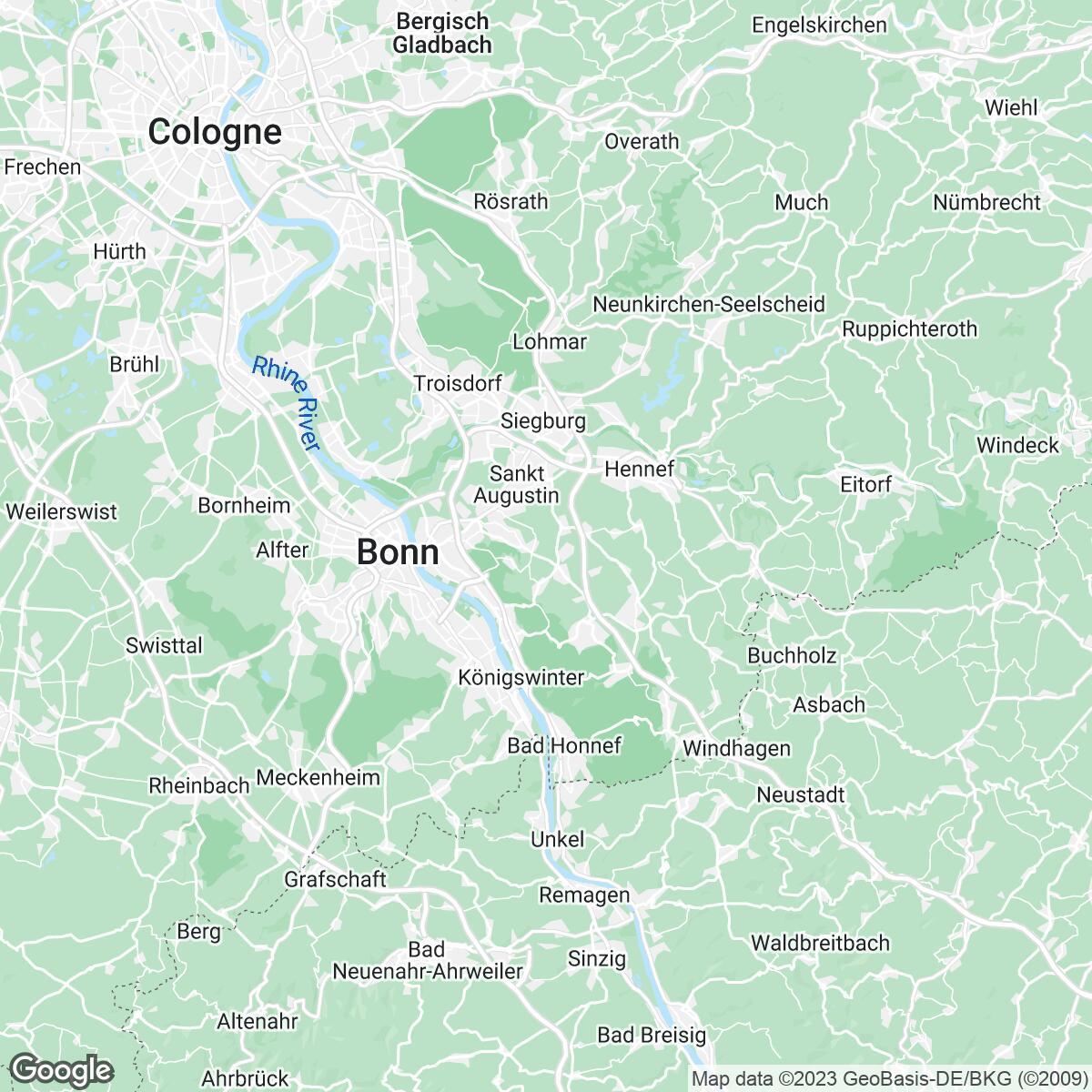 Verkaufsgebiet der Zeitungen General-Anzeiger Bonn