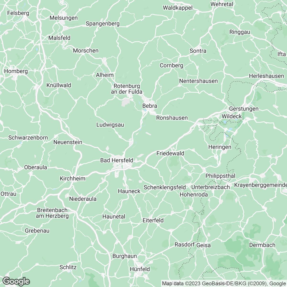 Verkaufsgebiet der Zeitungen HNA Hessische / Niedersächsische Allgemeine