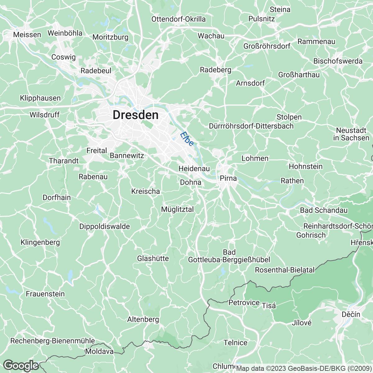 Verkaufsgebiet der Zeitungen Sächsische Zeitung