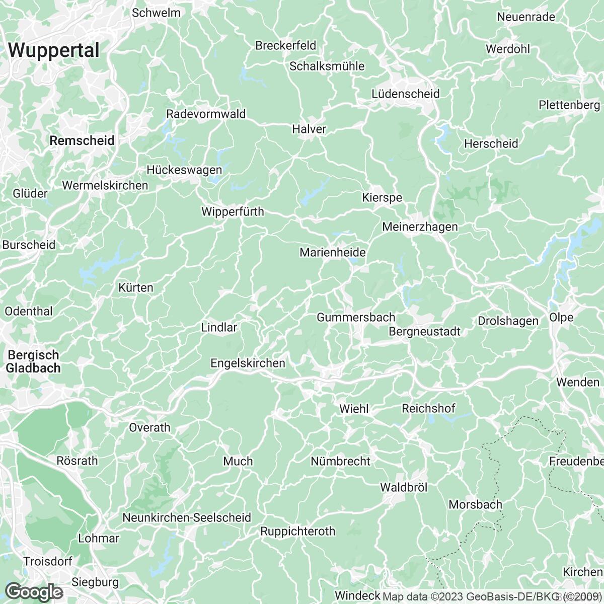 Verkaufsgebiet der Zeitungen Remscheider General-Anzeiger rga