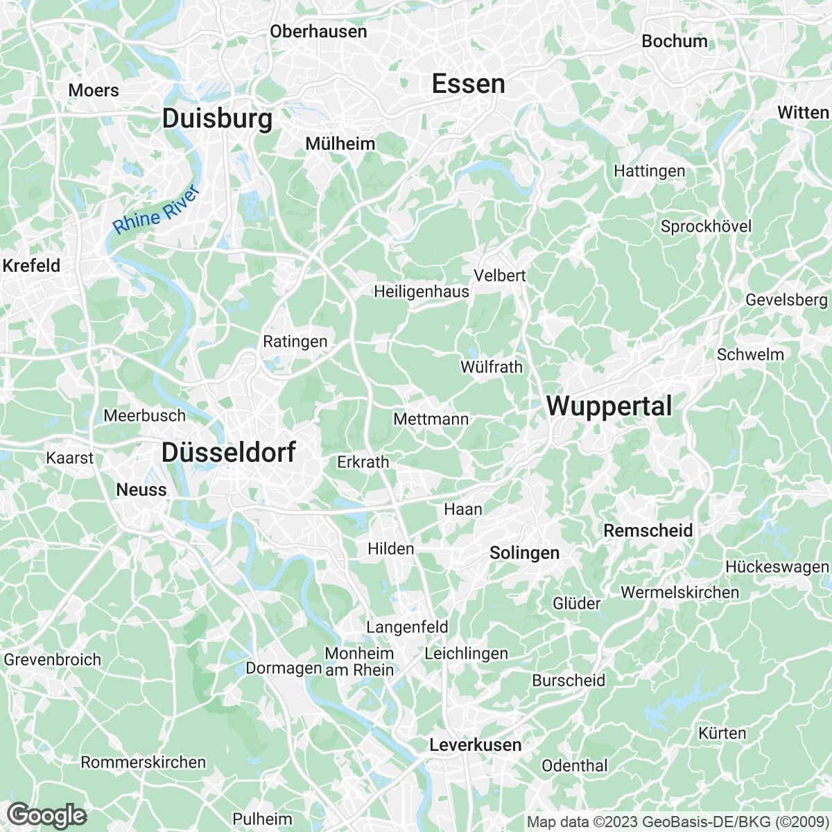 Verkaufsgebiet der Zeitungen Rheinische Post