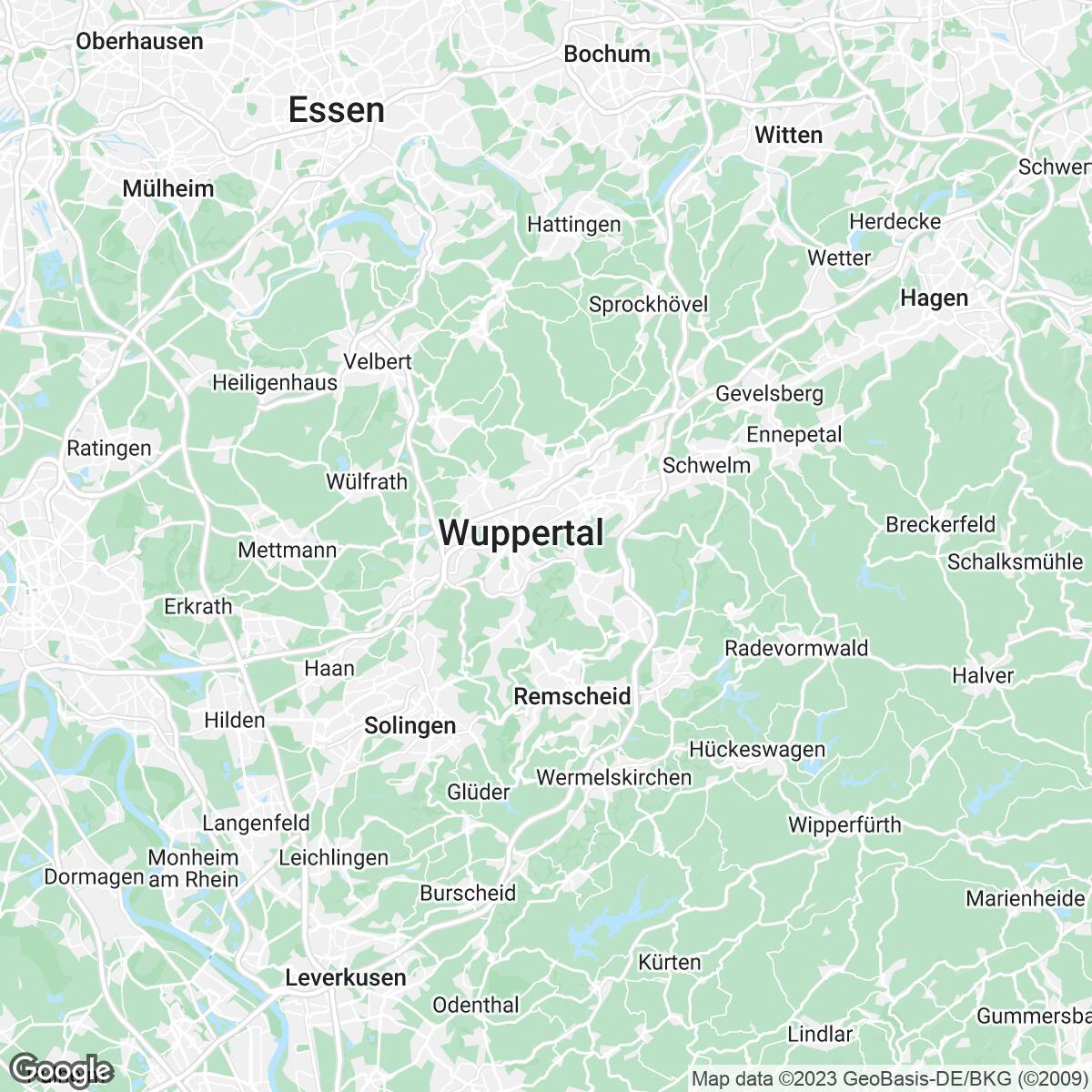Verkaufsgebiet der Zeitungen Westdeutsche Zeitung plus
