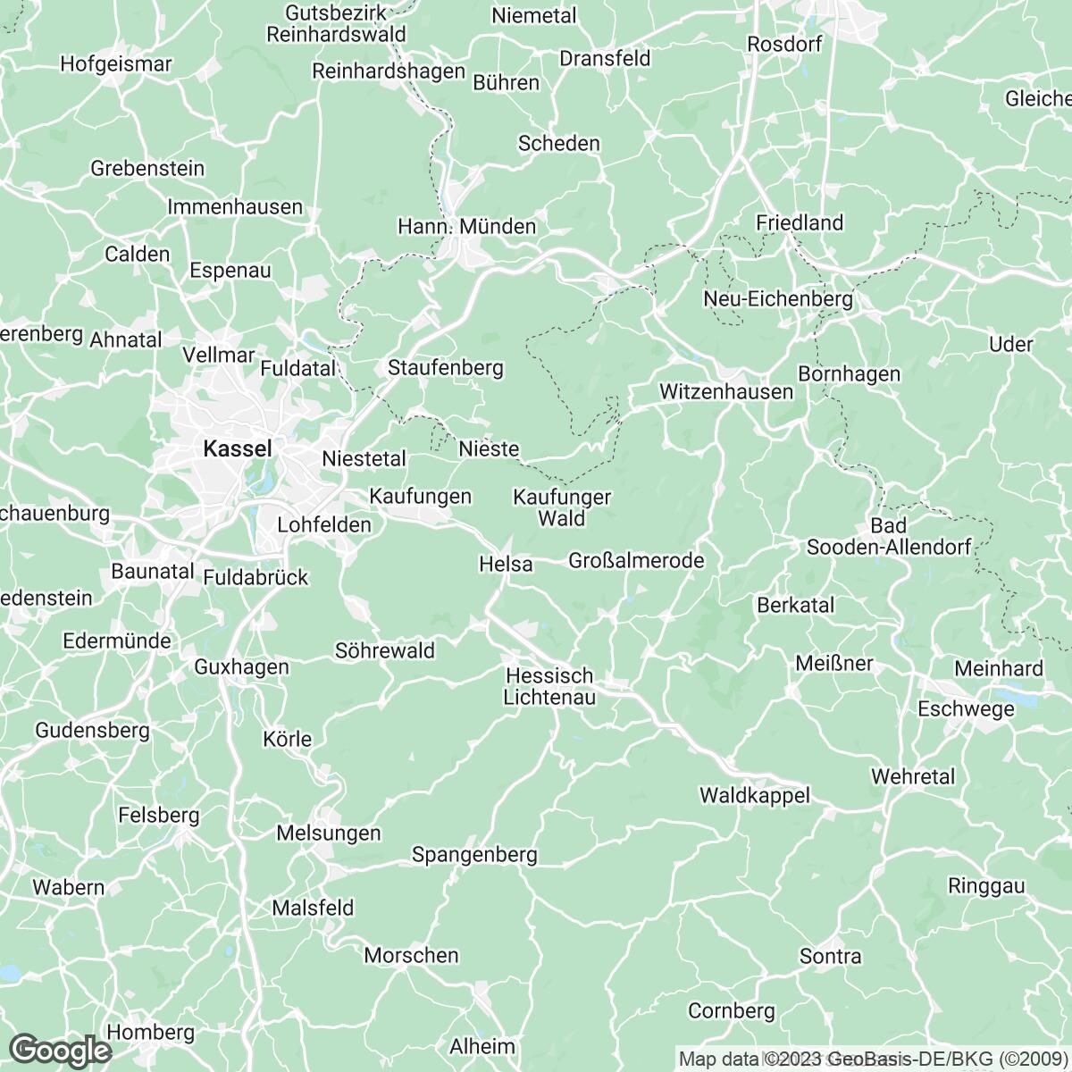 Verkaufsgebiet der Zeitungen Werra-Rundschau