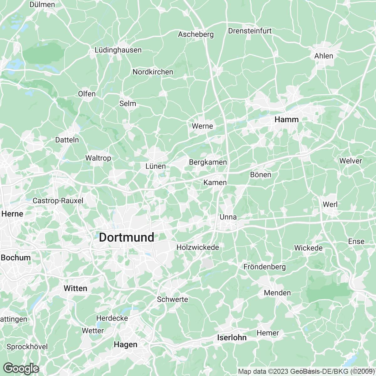 Verkaufsgebiet der Zeitungen mrw Mediaregion Ruhrgebiet / Westfalen (Lensing/Lokale Vermarktung)