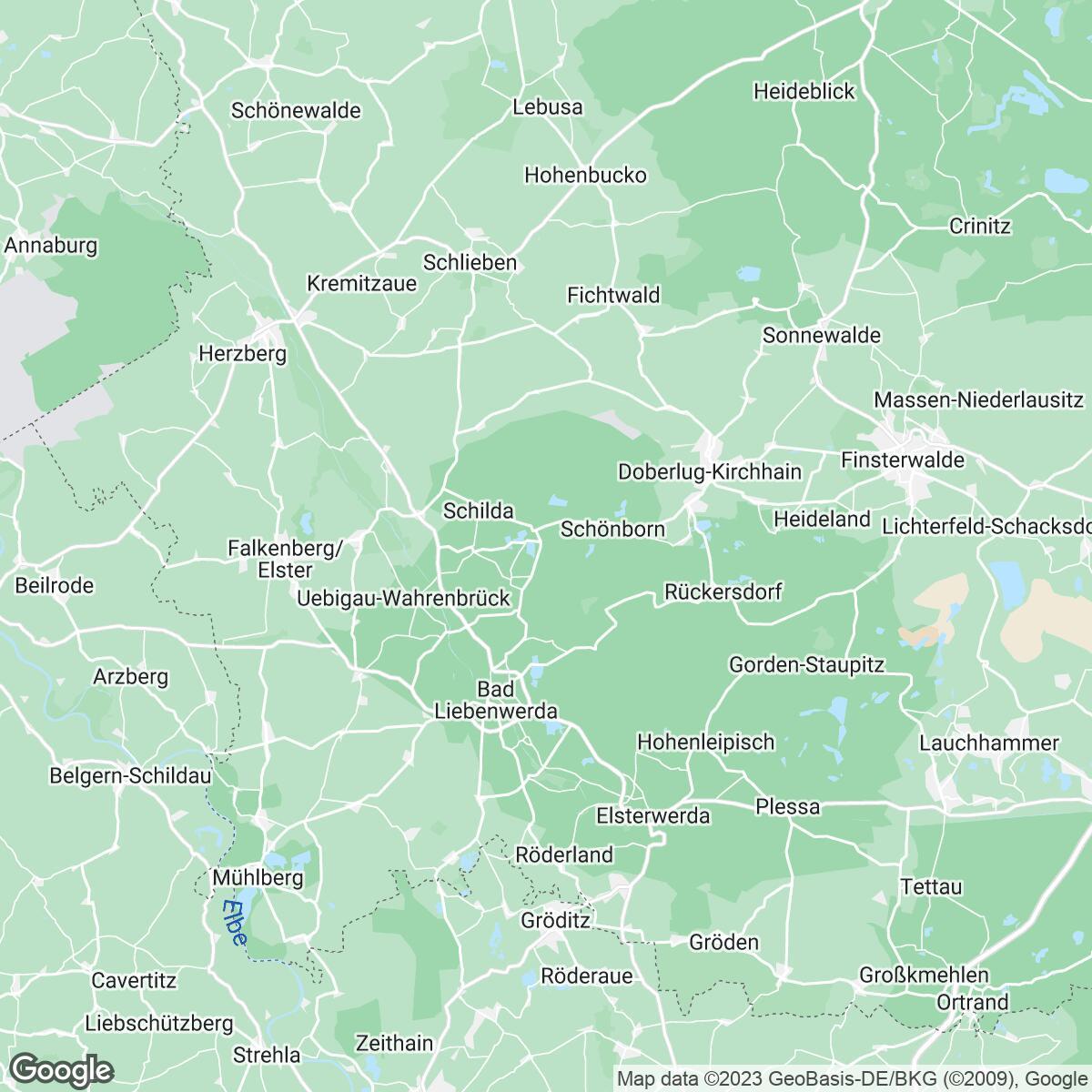 Verkaufsgebiet der Zeitungen Lausitzer Rundschau