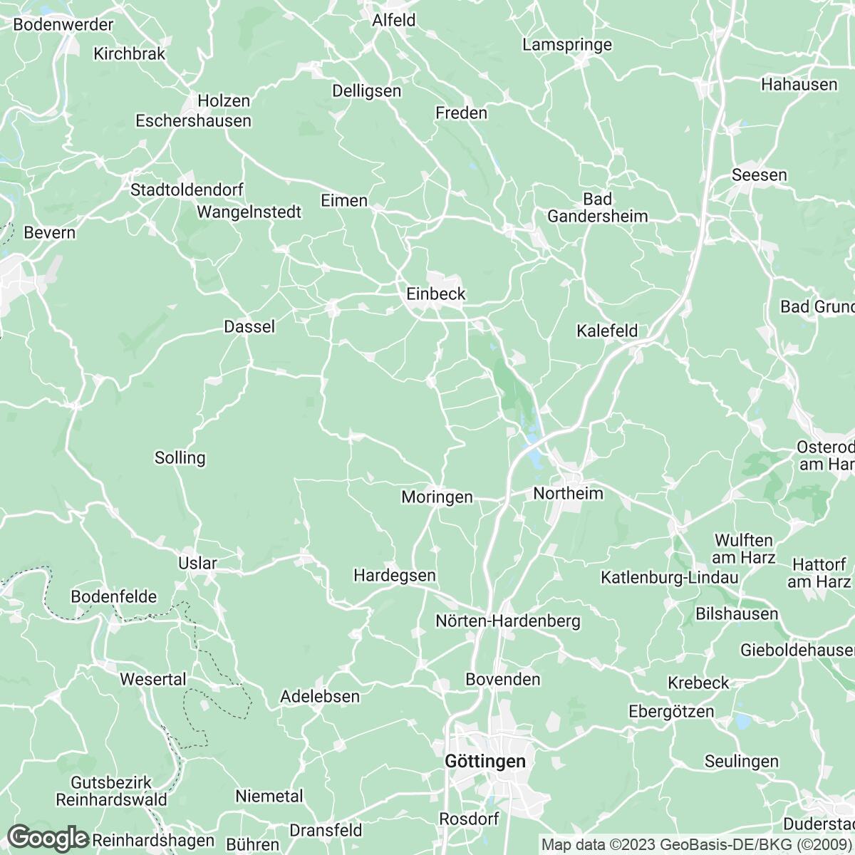 Verkaufsgebiet der Zeitungen Göttinger Tageblatt mediakombi