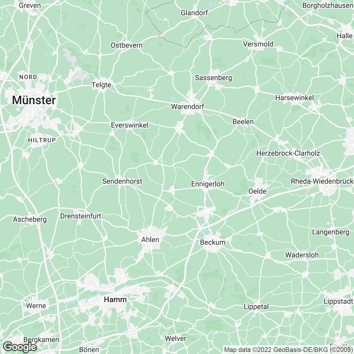 Verkaufsgebiet der Zeitungen ZGM Zeitungsgruppe Münsterland