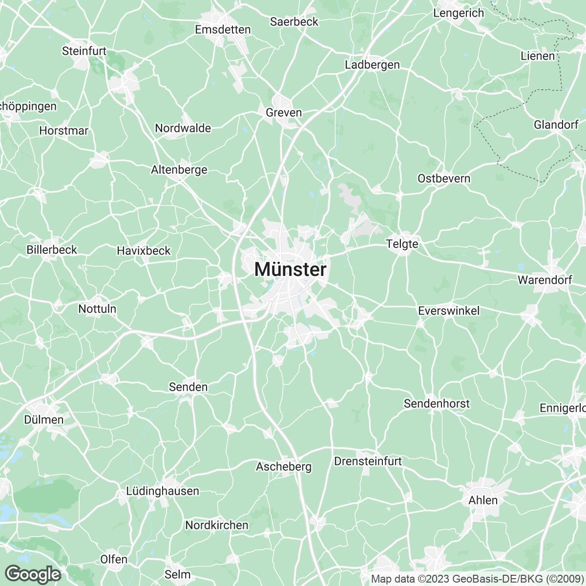 Verkaufsgebiet der Zeitungen Zeitungsgruppe Münster