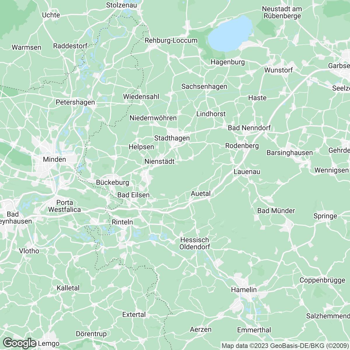 Verkaufsgebiet der Zeitungen Schaumburger Zeitung / Schaumburg-Lippische Landes-Zeitung