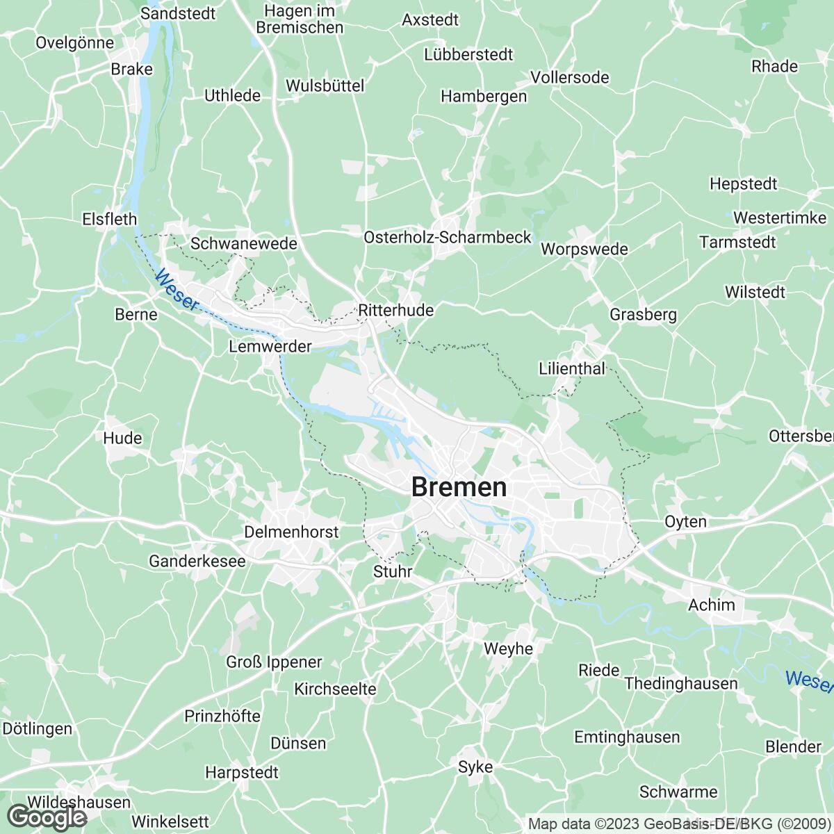 Verkaufsgebiet der Zeitungen Weser-Kurier